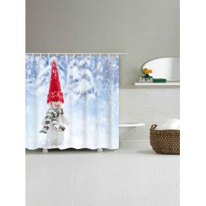 Snowman Printed Waterproof Polyester Bath Curtain -
