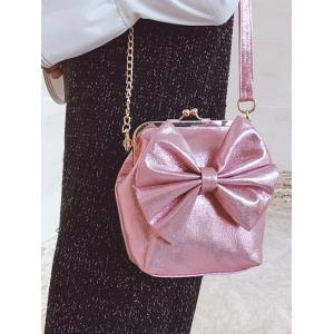 Chain Bowknot Crossbody Bag - PINK