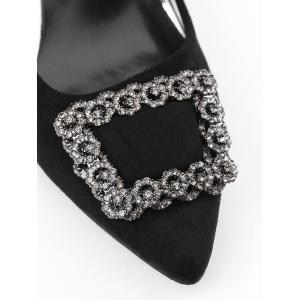 Pointed Toe Rhinestone Chunky Heel Pumps - BLACK 40