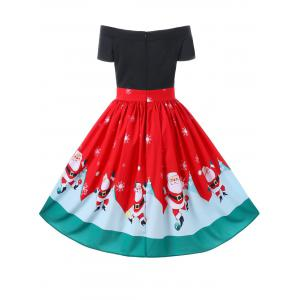 Christmas Off The Shoulder 50s Swing Dress - RED M
