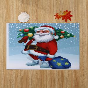 Christmas Santa Tree Pattern Anti-skid Water Absorption Area Rug - COLORMIX W24 INCH * L35.5 INCH