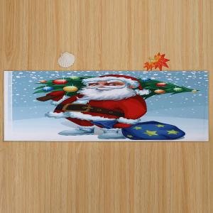 Christmas Santa Tree Pattern Anti-skid Water Absorption Area Rug -