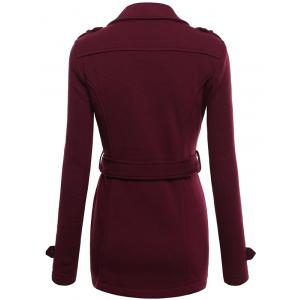 Belted Double Breasted Wool Blend Trench Coat - WINE RED M