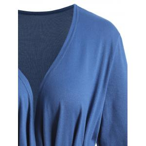 Asymmetrical Wrap Plus Size T-shirt - BLUE 4XL