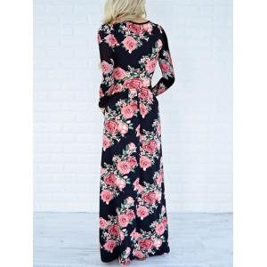 Long Sleeve Maxi Printed Dress with Pockets - BLACK S
