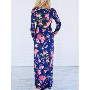 Floor Length Floral Long Sleeve Dress - BLUE S