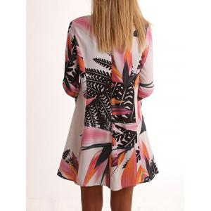 Leaf Print Bell Sleeve Tunic Dress - COLORMIX M