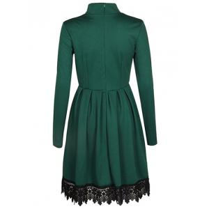 Mock Neck Lace Insert A Line Dress - GREEN M