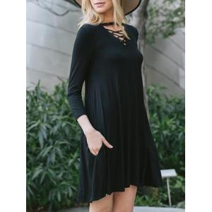 Robe Tunique Criss Cross Keyhole - Noir S