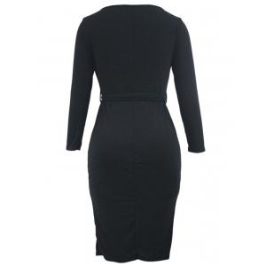 Button Up Knee Length Bodycon Dress - BLACK S