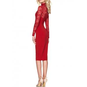 High Neck Floral Lace Bodycon Dress - RED S