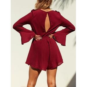 Lace Up Bell Sleeve Ruffle Romper - WINE RED XL