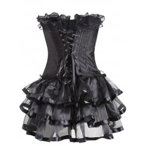 Flounce Lace Trim Two Piece Corset Dress - BLACK S