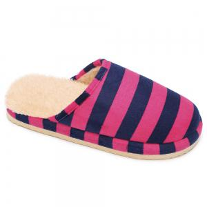 Faux Fur Padded Stripe House Slipper - ROSE RED SIZE(38-39)