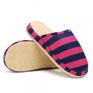 Faux Fur Padded Stripe House Slipper - ROSE RED SIZE(40-41)