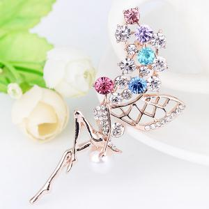 Rhinestone Faux Pearl Fairy Wings Brooch - COLORFUL
