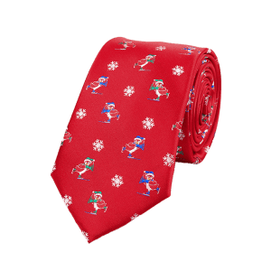 Christmas Element Pattern 7.5CM Width Tie - RED