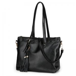 Rivets Tassel Faux Leather Shoulder Bag -