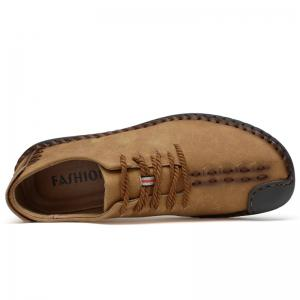 Lace Up Whipstitch Casual Shoes - EARTHY 45