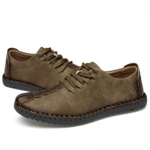 Lace Up Whipstitch Casual Shoes - KHAKI 45