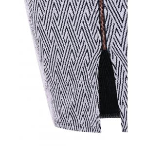 Monochrome Zip Up Pencil Skirt -