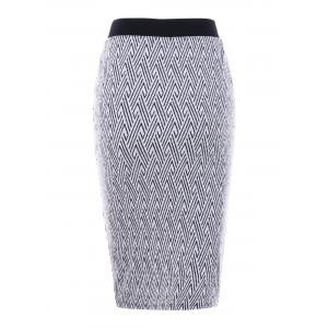 Monochrome Zip Up Pencil Skirt - WHITE AND BLACK 2XL