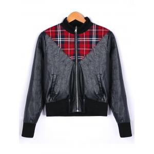 Plaid Panel Zip Up PU Leather Jacket -