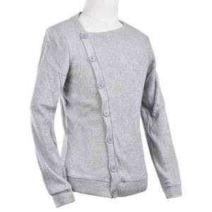 Oblique Button Up Knitted Cardigan - LIGHT GRAY S