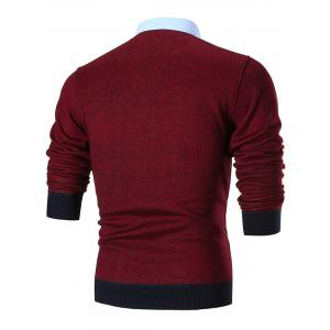 Fake Two Piece Knitted Shirt Collar Sweater - RED 3XL