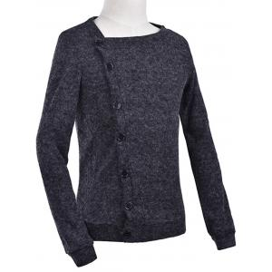Oblique Button Up Knitted Cardigan - DEEP GRAY 2XL
