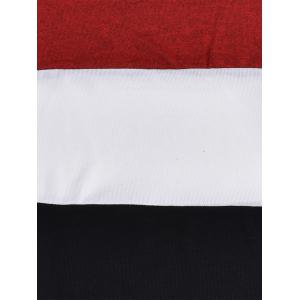 Piles Collar Color Block Panel Sweater - RED S