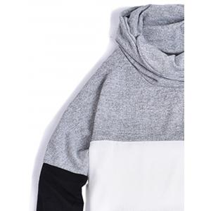 Piles Collar Color Block Panel Sweater - LIGHT GRAY S