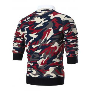Shirt Collar Camo Print Knitted Sweater - RED 2XL