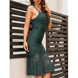 Backless Knee Length Cami Lace Bodycon Dress - BLACKISH GREEN XL