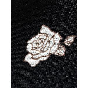 Rose Print Crew Neck Knitted Pullover Sweater - BLACK XL