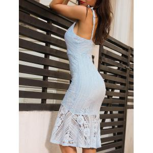 Backless Knee Length Cami Lace Bodycon Dress - LIGHT BLUE L