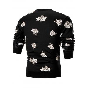 Rose Print Crew Neck Knitted Pullover Sweater - BLACK 3XL