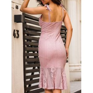 Backless Knee Length Cami Lace Bodycon Dress - PAPAYA L