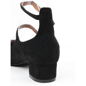 Chunky Heel Ankle Strap Pumps - BLACK 36