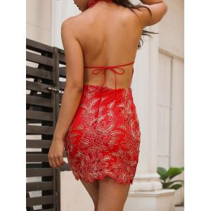 Embroidery Halter Neck Open Back Dress - RED L