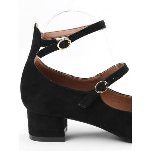 Chunky Heel Ankle Strap Pumps - BLACK 37