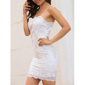 Scalloped Spaghetti Strap Embroidery Dress - WHITE M