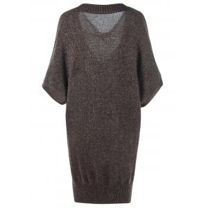 Plus Size See Thru Batwing Sleeve Longline Sweater -