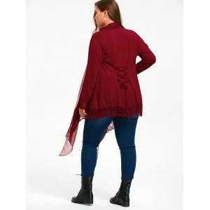 Lace Trim Criss Cross Plus Size Cardigan - WINE RED 4XL