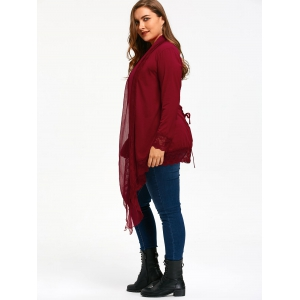 Lace Trim Criss Cross Plus Size Cardigan - WINE RED 5XL