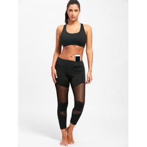 Sheer Workout  Leggings with Mesh Insert -