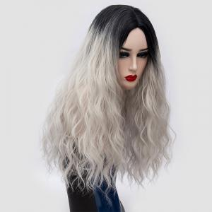 Long Center Parting Water Wave Ombre Synthetic Party Wig - SILVER GRAY