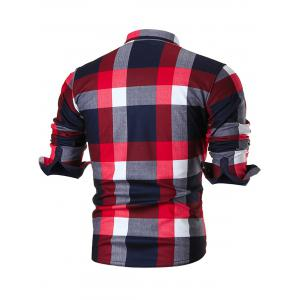 Chest Pocket Long Sleeve Checkered Shirt - RED 4XL