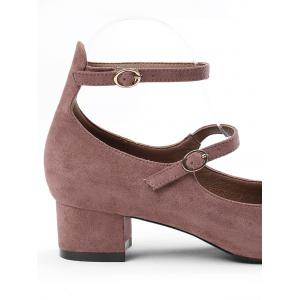 Chunky Heel Ankle Strap Pumps - BEAN PASTE COLOR 34