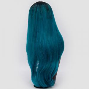 Long Center Parting Ombre Slightly Curly Synthetic Party Wig - OASIS
